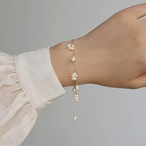 QiuYueShangMao Pulsera de Perlas de Agua Dulce Natural para Mujer Joyería Hecha a Mano Real Boda Cadena de la Amistad Regalo de cumpleaños para mamá, Esposa, Novia.