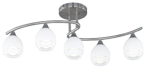 Trio Leuchten Deckenleuchte in nickel matt mit Glas weiß, klaren Dekorlinien, exklusive 5 x E14 max. 40 W, 72 x 27 cm 605600507
