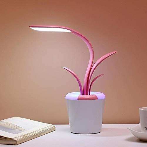 Wdckxy Lámpara de mesa, luz de lectura, luz de lectura, plegable, recargable, interruptor táctil, protección de ojos, lámpara LED de escritorio, luz de ambiente colorida (color: rosa)