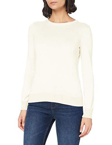 Amazon-Marke: MERAKI Baumwoll-Pullover Damen mit Rundhals, Elfenbein (Ivory), 38, Label: M