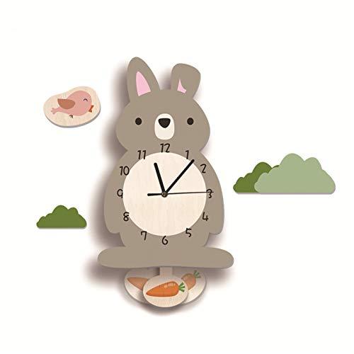SWECOMZE Kinder-Wanduhr, Wanduhr aus Holz, Uhr ohne Tickgeräusche, Lautlos Uhrwerk, Kinderuhr, Wanddeko für das Kinderzimmer (Hase)