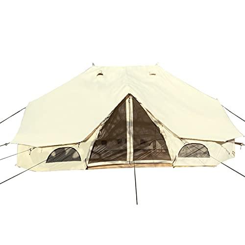 Skandika Baumwoll-Tipi Freya für 12 Personen   eingenähter Zeltboden mit Reißverschluss, aufrollbare Seitenwände, 6 x 4 m, 3 m Stehhöhe, wasserdicht   Robustes Zelt für Gartenparty, Glamping, Camping