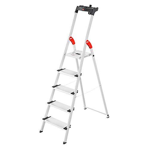 Hailo L80 ComfortLine Alu-Sicherheits-Stehleiter | 5 XXL-Stufen belastbar bis 150 kg | tiefe Standfläche |Stehleiter mit Ablage | klappbare Aluleiter made in Germany | Leiter rostfrei | silber