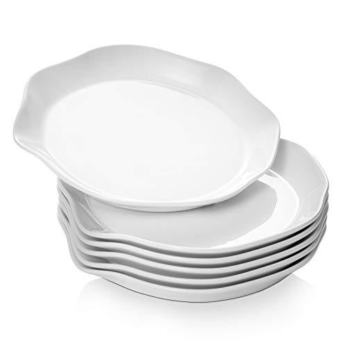 "DOWAN 10"" Salad Plates, Ceramic Dinner Plate Set of 6, Serving Plates for Pasta, Salad, Sandwiches, Steak"