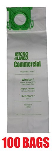 100 Sebo, Windsor Sensor Micro-Lined Commercial Upright Vacuum Bags, Fits 5093AM, 5300. 100 Pack.
