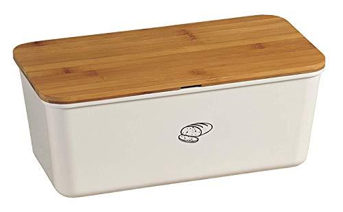 Kesper 18090 Brotbox Melamin Bambus, 34 x 18 x 14 cm,weiß