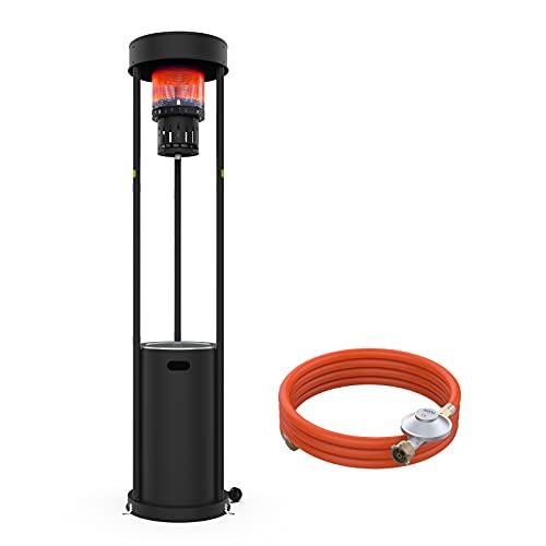 Terra Hiker Stufa a gas da 16 kW, riscaldatore a gas da terrazzo, con ruote, per ristorante, bar, 15 minuti, montaggio al propano, al butano o a gas GPL, nero (2,2 m)