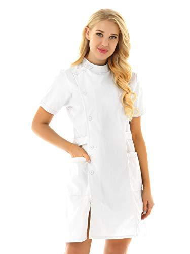 TiaoBug Unisex Batas Laboral de Trabajo para Peluquería Estética de SPA Uniforme Sanitario Empleados Profesional Casaca con Bolsillo Disfraces Adultos de Médico Enfermera Blanco Small