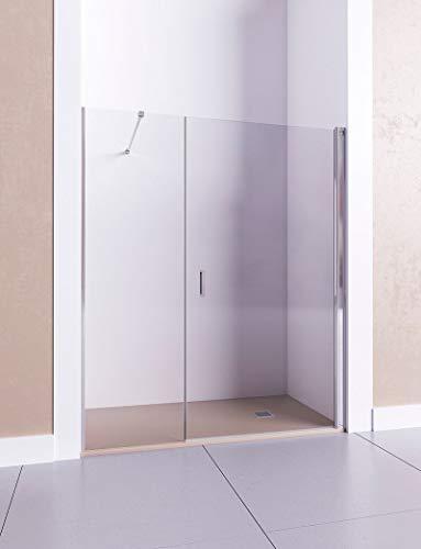 Model HADES I – douchecabine vooraan 1 klapdeur en 1 doorlopende bevestiging – glas 6 mm met antikalk inbegrepen. de 161-170 cm