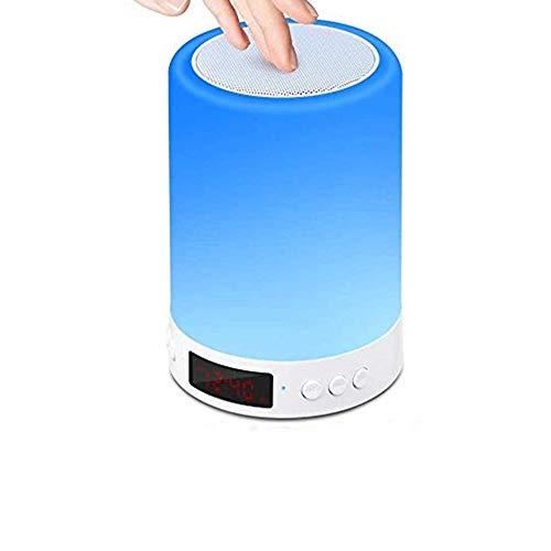 Cratone - Lámpara de mesa de noche para lámpara táctil y radio-despertador FM, luz cálida de intensidad regulable y portátil, lámpara de camping, 7 variaciones de colores