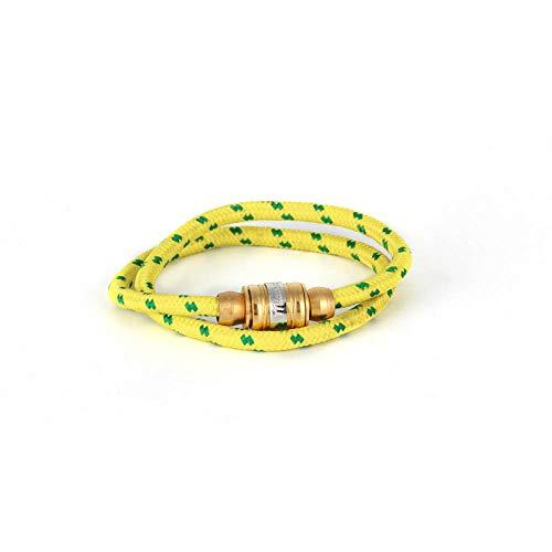 Zuiaidess Bracelet Tressé,Tissé Main des Couples Main Jaune Titane Sangle en Nylon Réglable De La Plaie en Acier Bracelets Lifeline pour Femmes Hommes Accessoires Sports De Plein Air