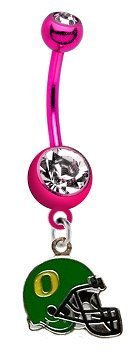 "Oregon Ducks ""Football Helmet"" PREMIUM Pink Titanium Anodized Sexy Belly Button Navel Ring"