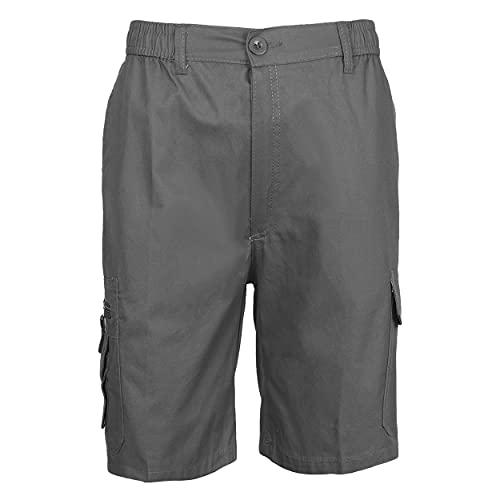 Pantalón Trabajo Corto Multibolsillo con Cintura Elástica Pantalón de Trabajo Corto de Verano Hombre Uniforme Laboral Industrial Gris XL