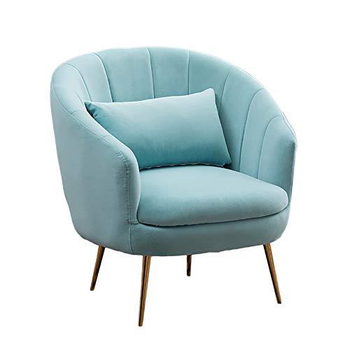 HUAYIN Velvet Accent Chair, getuftete gepolsterte Sofastühle Bequemer Einzelsofa Club-Sessel mit hoher Rückenlehne,Blau