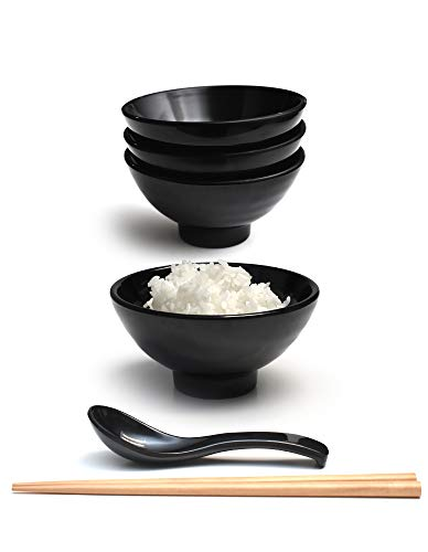 Set of 4 (12 Pieces) 9.5 Ounce Japanese Small Rice Bowl Thick Melamine Hard Plastic Dishware Set for Fruits Snacks Appetizers Soups Dips with Spoon and Chopsticks (4, Black, 4.7 inch)