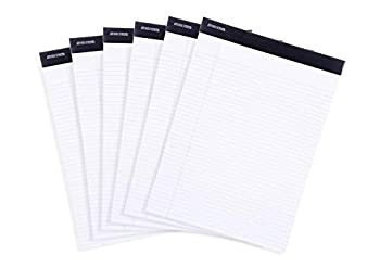 Mintra Office Legal Pads -   BASIC WHITE 6pk 8.5in x 11in NARROW RULED   - 50 Sheets per Notepad Micro perforated Writing Pad Notebook Paper for School College Office Business