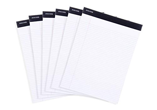 Mintra Office Legal Pads - ((BASIC WHITE 6pk, 8.5in x 11in, NARROW RULED)) - 50 Sheets per Notepad, Micro perforated Writing Pad, Notebook Paper for School, College, Office, Business