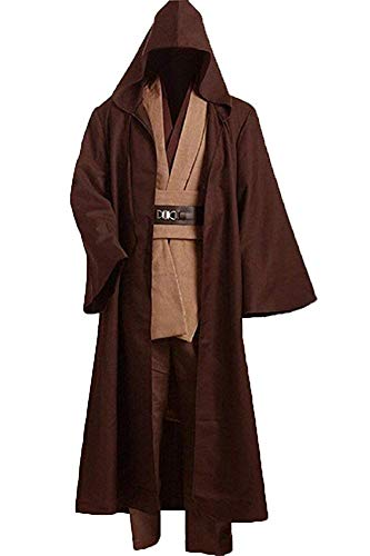 Cosplaysky Adult Outfit for Jedi Costume Tunic Hooded Robe Anakin Skywalker Uniform Brown Version XX-Large