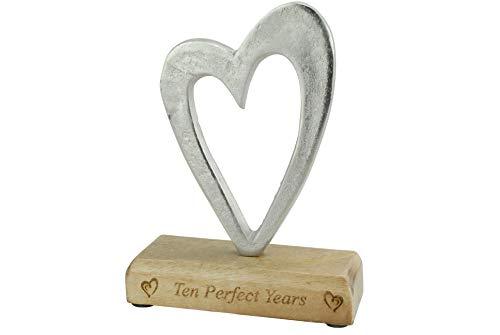 Ten Perfect Years 10th Anniversary Rustic Metal Heart Decoration – Free Standing Aluminium & Wooden Decoration (hssperf-10)