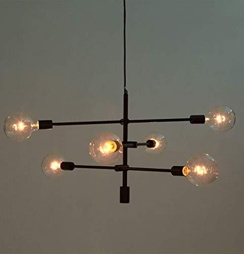 GYW-YW Luces colgantes Colgante de lámparas de luz colgante pulido madre mate del oro Negro contemporáneo Hung lámpara del accesorio de la lámpara moderna 6 luces colgantes de montaje empotrado, Negro