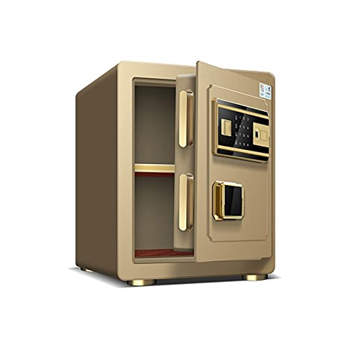DJDLLZY Caja de seguridad digital electrónica, 38 x 33 x 45 cm, caja fuerte de acero para el hogar, pantalla LED, para oficina, hotel, joyas, efectivo (color oro)