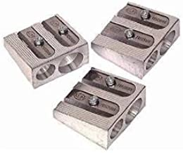 3 PACK: KUM 1040501 2-hole Pencil Sharpener Magnesium Alloy Wedge Profile