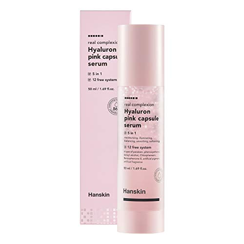Hanskin Real Complexion Hyaluron Pink Capsule Serum with Vitamin B12, Intensive Moisture Deep Hydration, Hyaluronic Acid [50ml]