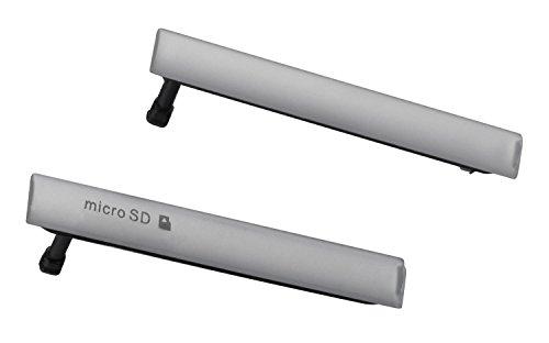 yayago 2er Set Micro USB/SD Abdeckung Dichtung Black für Sony Xperia Z3 Compact Deckel Weiss