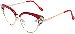 TT WARE Women Ultra-Light Cat Eye Frame Computer Reading Glasses with Rhinestone-Red-1.5