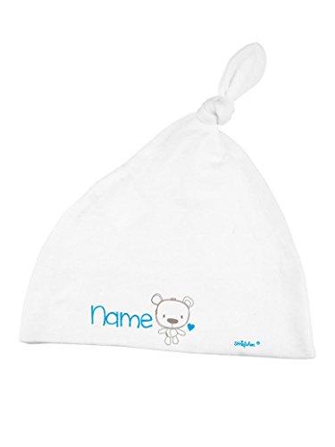 Striefchen® Weiße Babymütze mit Zipfel als Geschenk zur Geburt mit Namen für Jungen