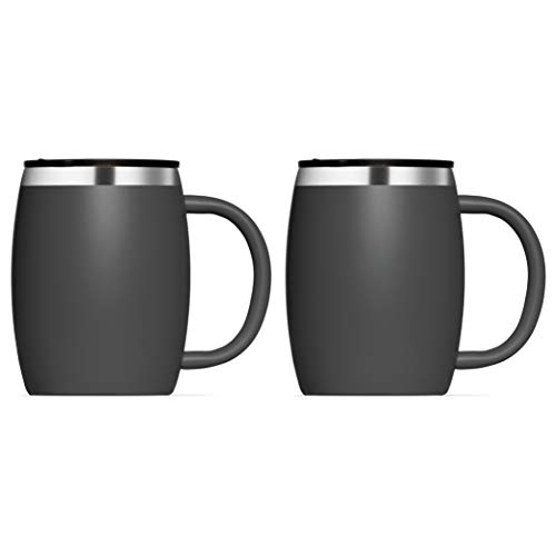 Insulated Stainless Steel Coffee Cups (Set Of 2) BPA-Free Spill Proof Lid-...