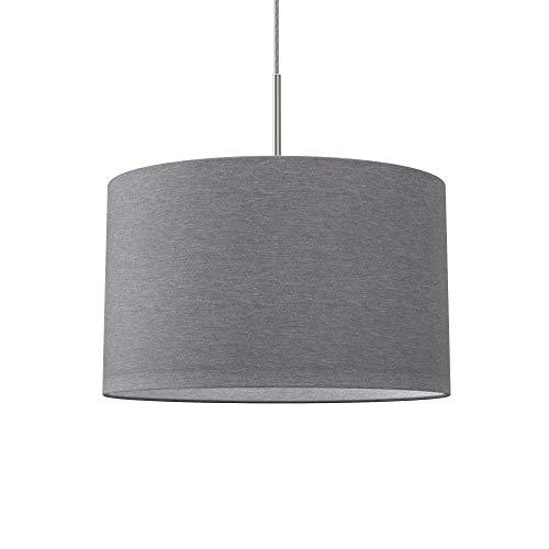 Lampada a sospensione in tessuto grigio, attacco per lampadina E27 non inclusa, paralume diametro 38cm, Lampadario moderno per sala da pranzo o camera da letto, IP20
