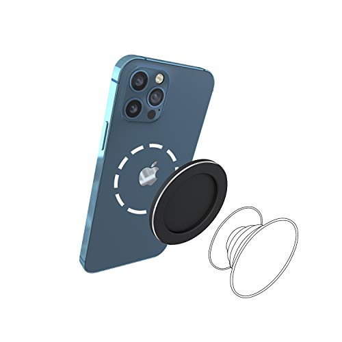 Magnetic Pop Base for P-Socket Grip Phone Ring Holder Compatible with iPhone 12 Series Magsafe Wireless Charging Compatible (Pop Grip Not Included)-Black