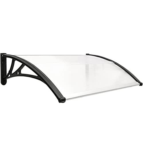 PrimeMatik - Tejadillo de protección 100x60cm Marquesina para Puertas y Ventanas Negro