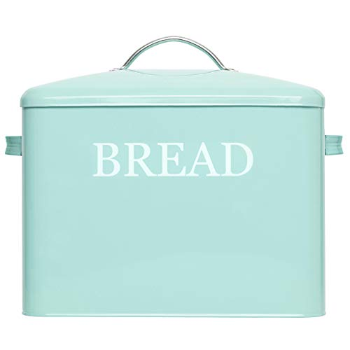 Extra Large Bread Box Teal - Bread Boxes For Kitchen Counter Holds 2+ Loaves For All Your Bread Storage - Bread Container Counter Organizer To Suit Farmhouse Kitchen Decor, Vintage Kitchen, Rustic