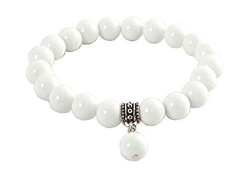Geralin Gioielli Damen Armband Achat Weiß Pendant Buddhistische Gebets Perlen Mala Buddha Tibet Yoga Armreif