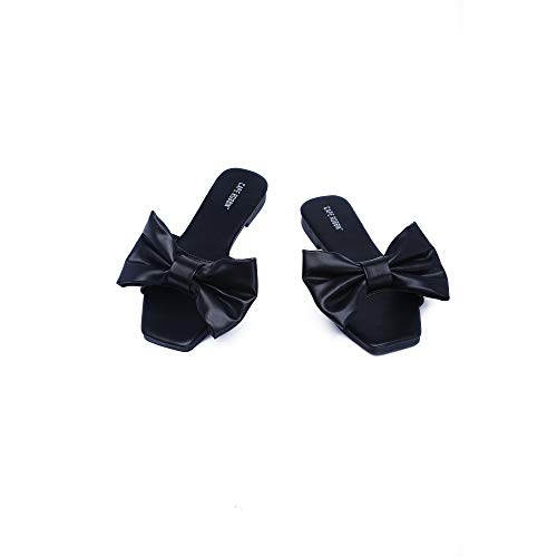 Cape Robbin Juju Sandals Slides for Women, Womens Mules Slip On Shoes with Bow - Black Size 11