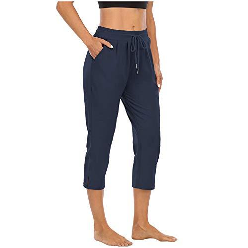 Pantalones Deportivos de Color Sólido con Bolsillos Laterales Pantalón de Deporte de Vendaje Pantalones Absorbentes y Transpirables Pantalón Cropped Suelto Ideal para Correr Gym Yoga y Pilates