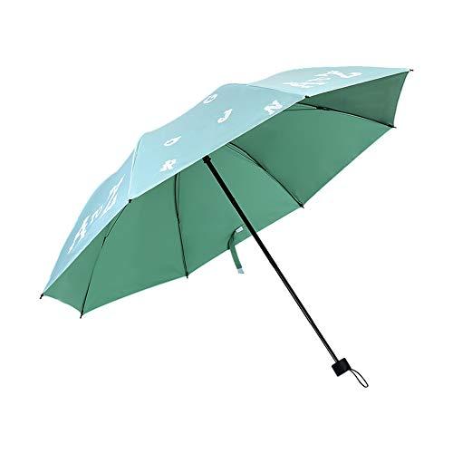 ENticerowts Regenschirm, dreifach faltbar, mit englischem Buchstaben, Regenschirm, UV-Schutz grün grün