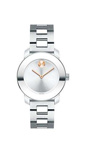 Women's BOLD Iconic Metal Stainless Watch with a Flat Dot Sunray Dial, Silver/Grey () - Movado 3600433
