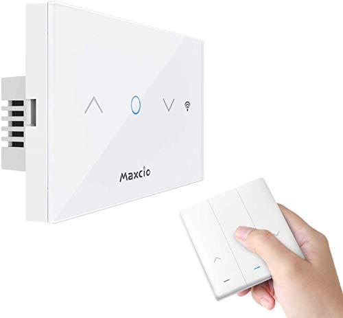 Maxcio Interruttore Tapparelle Avvolgibile WiFi, Interruttore Smart per Tenda con Telecomando RF, Interruttore WiFi Controllato dall'APP Smart Life, Compatibile con Alexa/Google Home, Funzione Timer