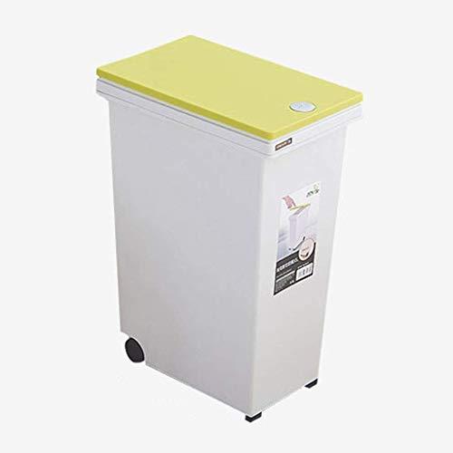 1yess Mülleimer Recycling Bin Müll Müll Mülleimer Kanal Papierbinder Kleine große große große Kunststoff Press-Typ-Abdeckung (15.05.15.201.30 Liter) Abfallbehälter (Farbe: gelb, Größe: 5 Liter)