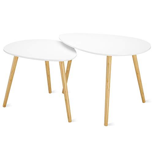 Homfa Tavolino caffè Tavolini Divano Moderno Set di 2 Tavolino da Salotto per Il Soggiorno Ufficio a casa