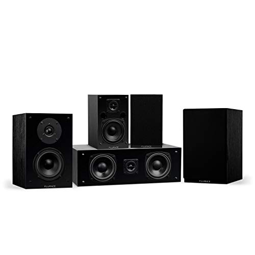 Fluance Elite High Definition Compact Surround Sound Home Theater 5.0 Channel Speaker System Including 2-Way Bookshelf, Center Channel and Rear Surround Speakers - Black Ash (SX50BC)