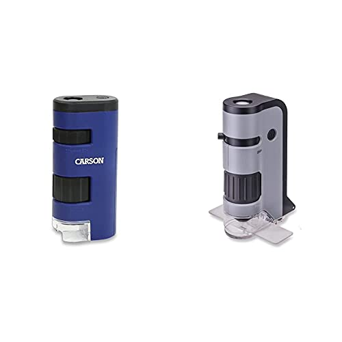Carson Pocket Micro 20x-60x LED Lighted Zoom Field Microscope with Aspheric Lens System (MM-450),Blue & MicroFlip 100x-250x LED Lighted Pocket Microscope with Flip Down Slide Base