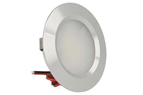 LEDLUX Mini spot LED encastrable rond 3 W AC/DC 12 V DC 24 V trou 50 mm diamètre 68 mm (Argent, 4500K)