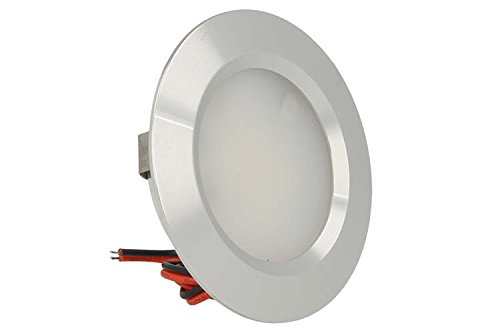 Mini LED-Einbaudeckenleuchte, rund, 3W Wechsel-/Gleichstrom: 12V, Gleichstrom 24V, Bohrung: 50mm, Schlachtkörper aus satiniertem Aluminium Warmweiß
