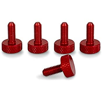 PrecisionGeek Viti zigrinate//vite a spalla M6 x 10mm Alluminio Rosso Anodizzato L-22mm 4 pz
