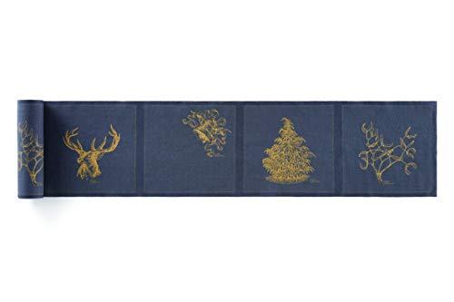 MY DRAP MYdrap SLA20N5/303-7 Table Noël 20x20cm-Idéale pour fête, Anniversaire, Cocktail-Rouleau de 12 Serviettes-Motifs Always Christmas, Lin, Gris, 5 cm