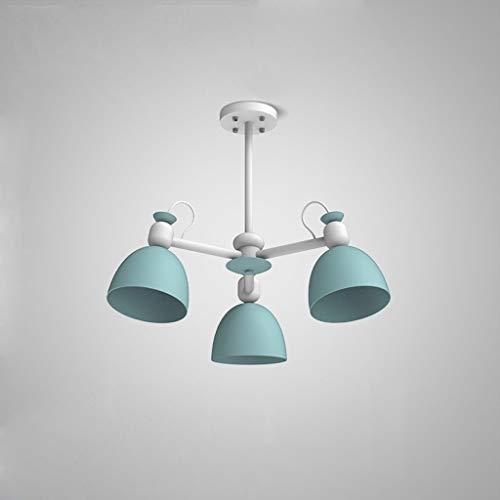 LLT Lámpara Colgante Útil Chandelier Azul 3-Head Nordic Creative Study Room Sala de Estar Restaurante Iron Chandelier